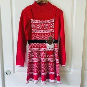 Xhilaration Christmas holiday sweater dress red S